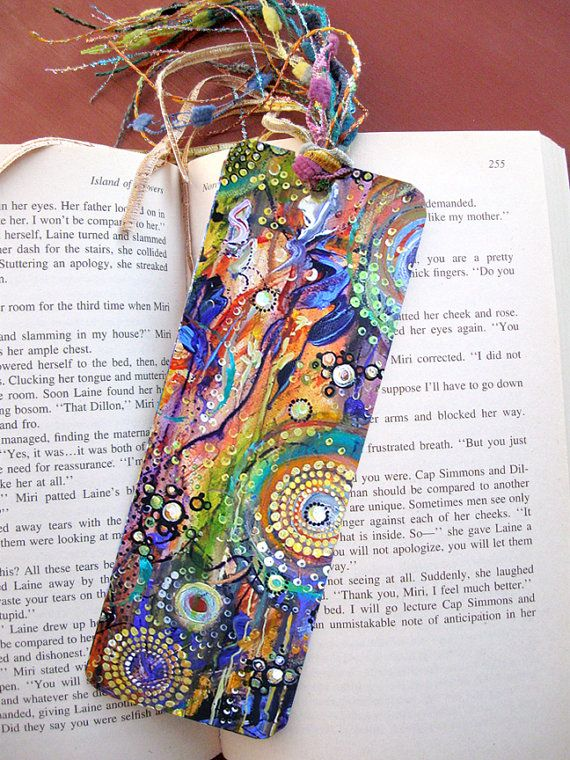 Laminated bookmark fiber ribbon tassel art print by for How to tie a ribbon on a bookmark