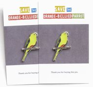 Two OBP lapel pins. Find them in the Orange-bellied Parrot Shop: orangebelliedparrot.ecwid.com