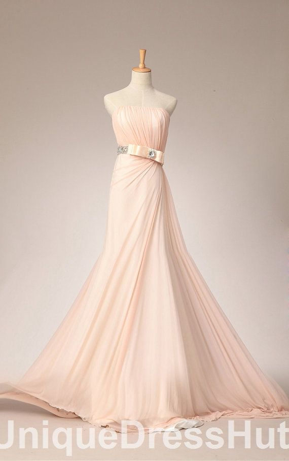 Simple light pink wedding dresses modest chiffon long for Wedding dress with lights