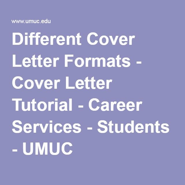 Different Cover Letter Formats - Cover Letter Tutorial - Career - letter formats