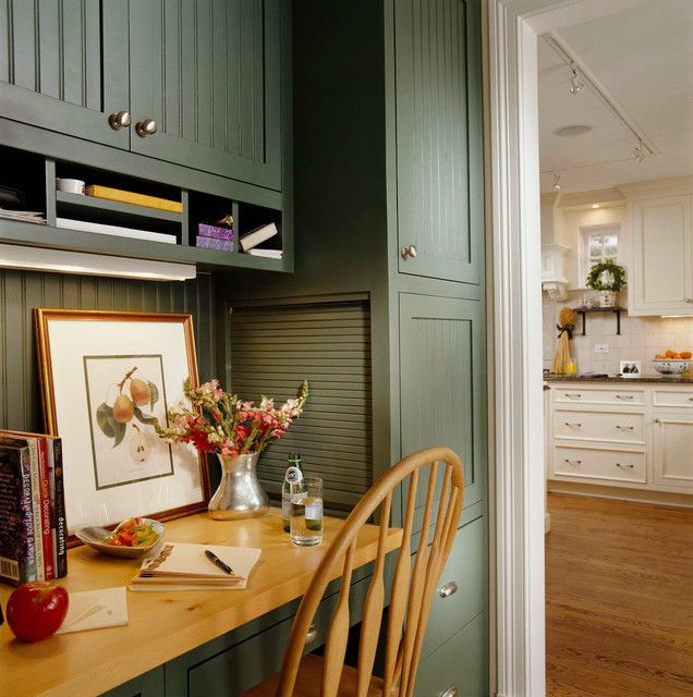 Rolltop Desk Kitchen Traditional With Liance Garage Beadboard Cabinets Built Moore Manor Steph Pinterest And