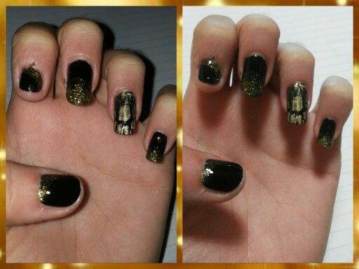 Gradient nails Crack nails Gold Black Oro Nero Nail art Unghie Smalto