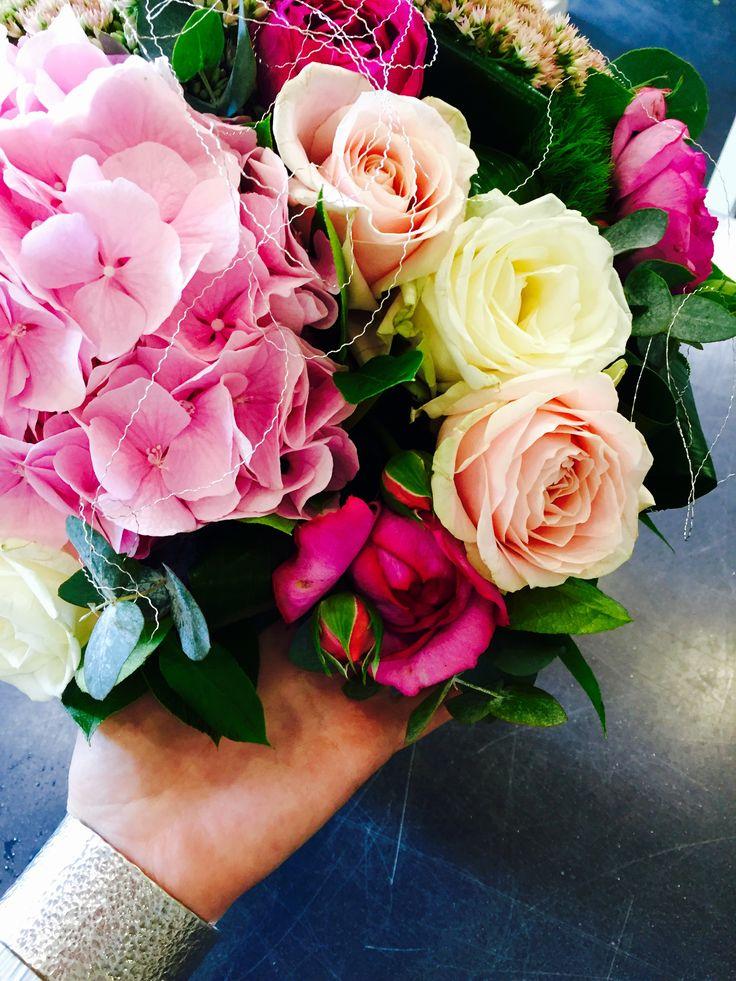 Hortensias roses de jardin