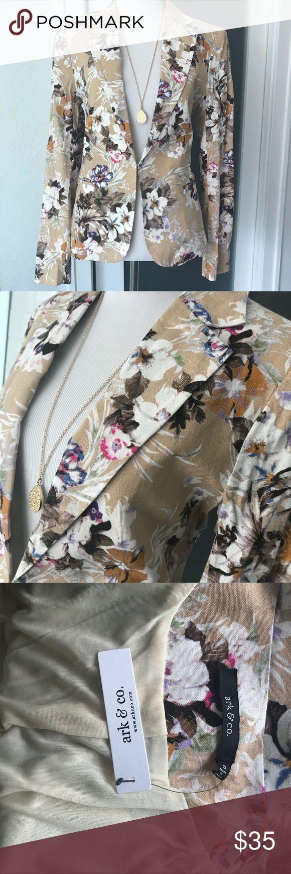 Women's floral print blazer Women's fitted blazer. Gorgeous floral print, perfect for spring! Great transitional piece as the weather gets warmer. Wear with a white cami, skinny ankle jeans, and some cute heels! Fully lined, and the fabric has a very nice feel to it. There is one clasp at the front that is very hidden if you prefer to wear it closed. Can also be worn open. Ark & Co Tops Blouses