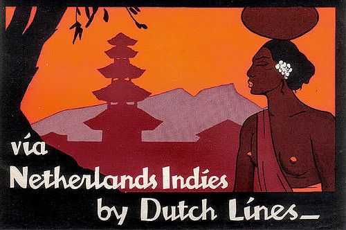Though not signed, this label is identical to a folder designed by Lavies during the same time period netherlands indes dutch lines
