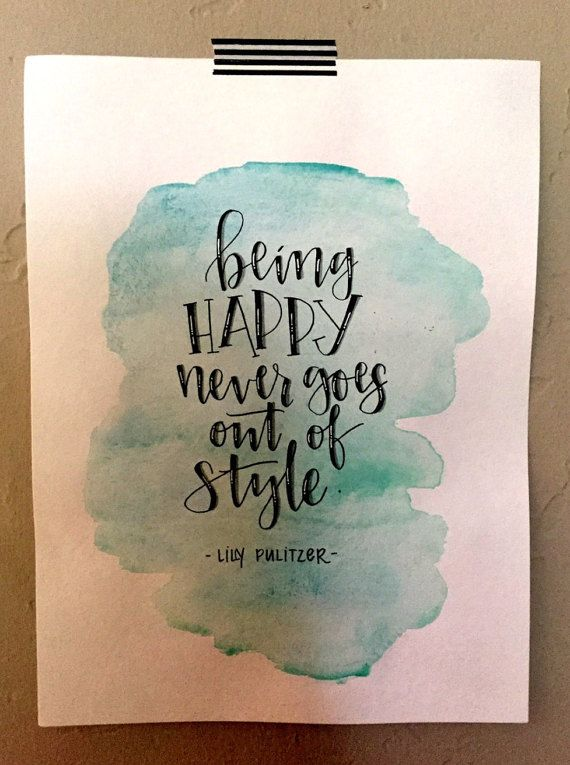 Original Art Hand Lettered Quote Being Happy by DateAndThyme