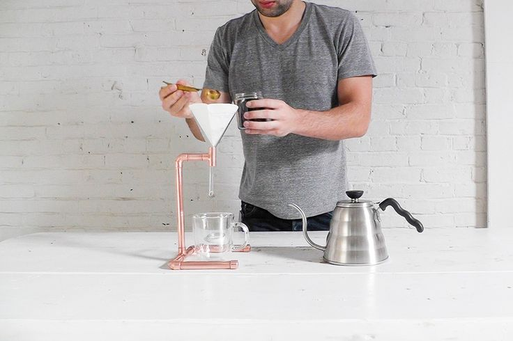 The best choice for the best tasting coffee is this copper pour over setup.