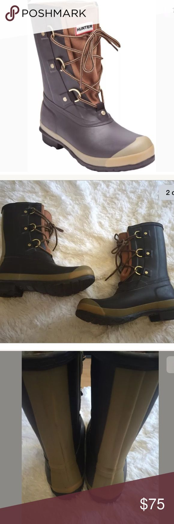 Hunter boots Sascha rain boots  8 men's 9 women's Hunter boots  Sascha style  Women's size 9/ men's size 8 ( runs a little big)  Brown with beige  Lace up  In very good condition Hunter Boots Shoes Rain & Snow Boots