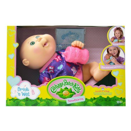 Cabbage Patch Kids Drink N' Wet Newborn Doll, Multicolor