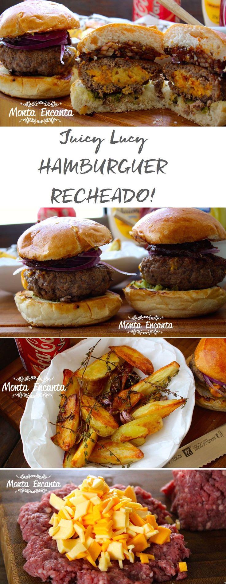 Juicy Lucy, hambúrguer montado na proporção ideal de gordura, blend de carnes saborosas como, acém, costela e peito de boi e recheado com queijo...