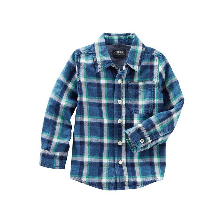 Toddler Boys OshKosh B'gosh® Flannel Plaid Button-Front Shirt, Boy's, Size: 4T, Ovrfl Oth