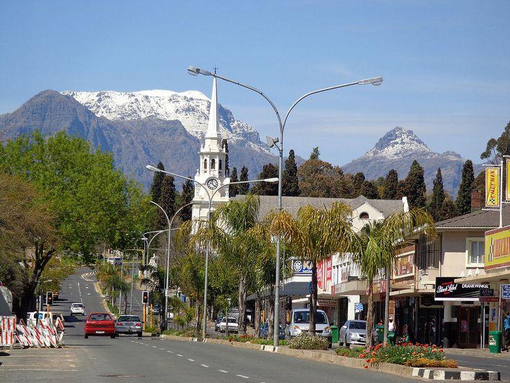 Wellington, South Africa and snowy Wemmershoek Peak beyond
