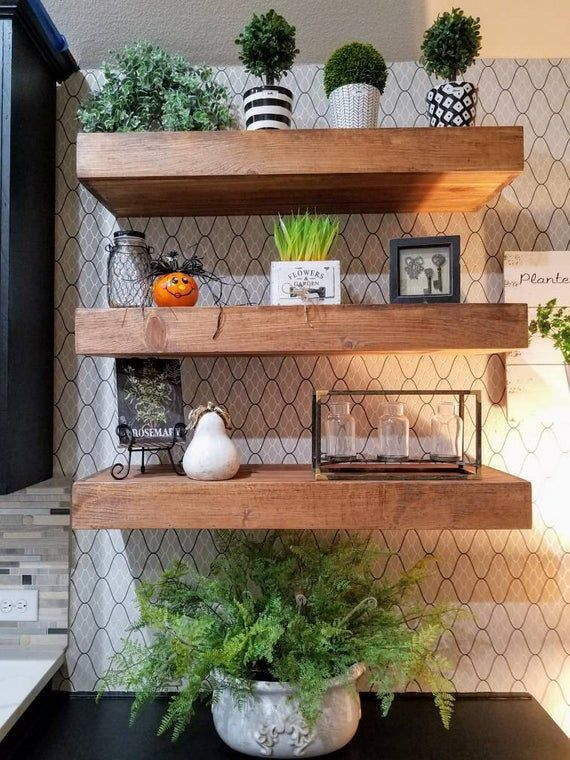 Wood Floating Shelves 14 Inches Deep