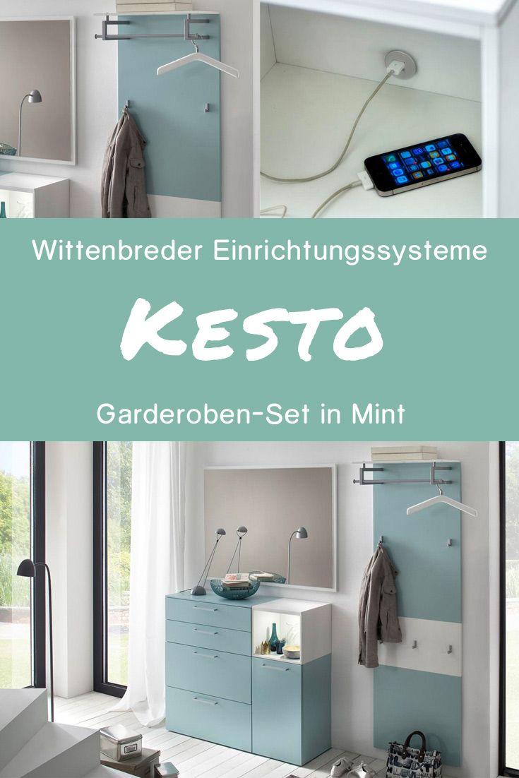 Wittenbreder Garderoben-Set in mattem Mint / Weiß #MoebelLETZ #mint