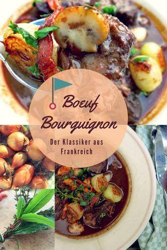 Boeuf Bourguignon - französisches Rinder Schmorgericht. Traditionelles Rezept mit Burgunder, Zwiebeln, Speck, Champignons. Traditionelles Rezept nach Julia Child.