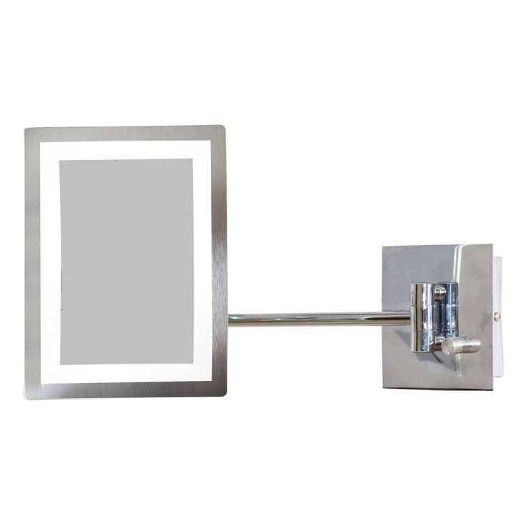 American Imaginations 6.25-in. W Rectangle -LED Wall Mount Magnifying Mirror In Chrome Color