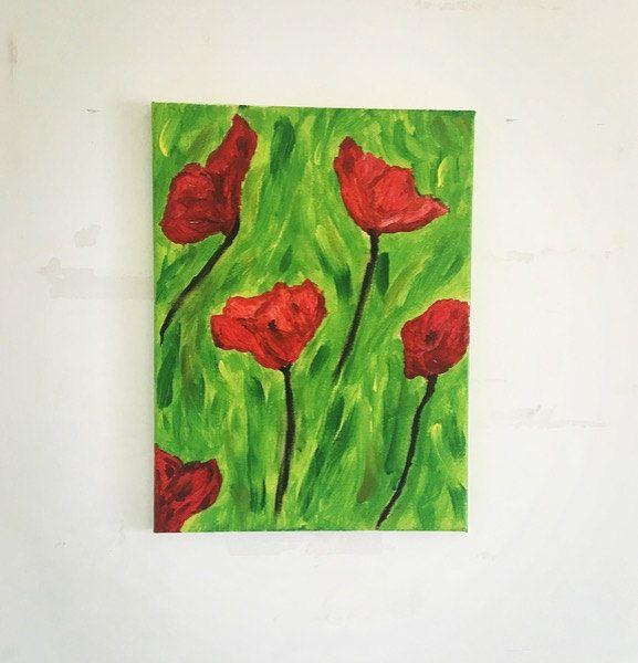 Papaveri rossi- acrilico 30*40 astratto acrylic color flower red arredredamento…