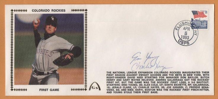 Charlie Hays & Eric Young BLEM Colorado Rockies Signed Gateway Stamp Envelope #ColoradoRockies