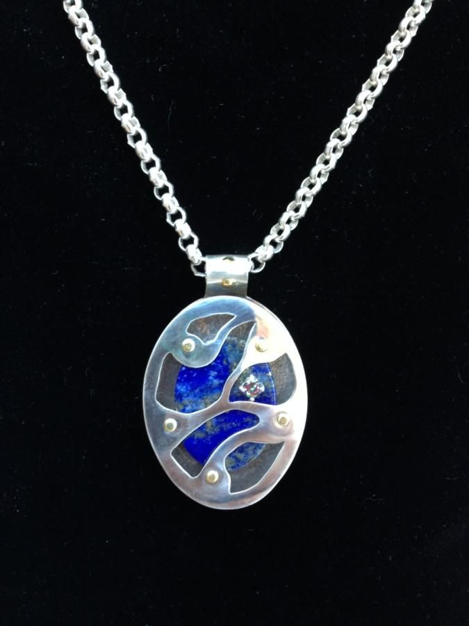 Lapis Lazuli captured in Sterling Silver Necklace by izabit Jewelry