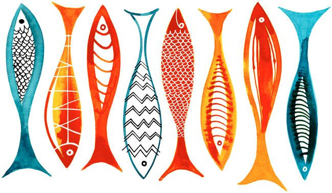 Margaret Berg Art: Simple Fishies (Red)