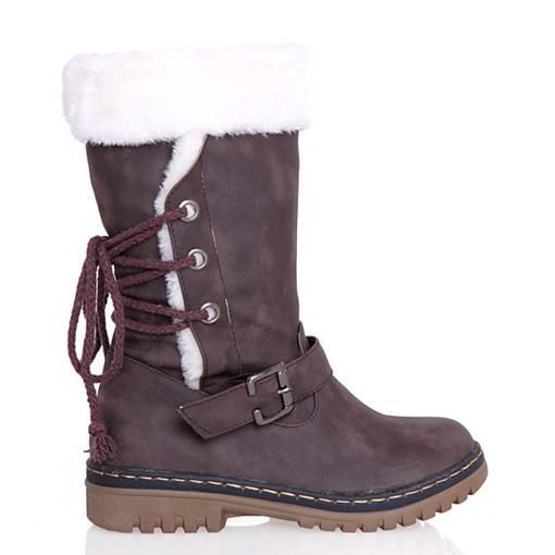 2016 new fashion women's boots mid calf knee high boots winter warm cotton snow boots fur shoes woman