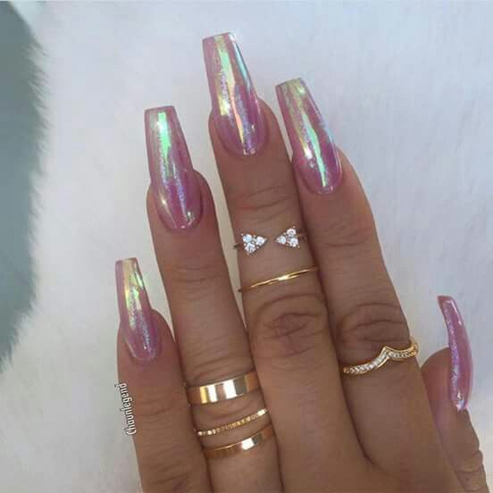 By adding the chrome powder, you can easily turn your acrylic into mirrored  chrome nails. Here are some beautiful long chrome nails ideas for you. - Best 25+ Unique Nail Designs Ideas On Pinterest Nail Ideas
