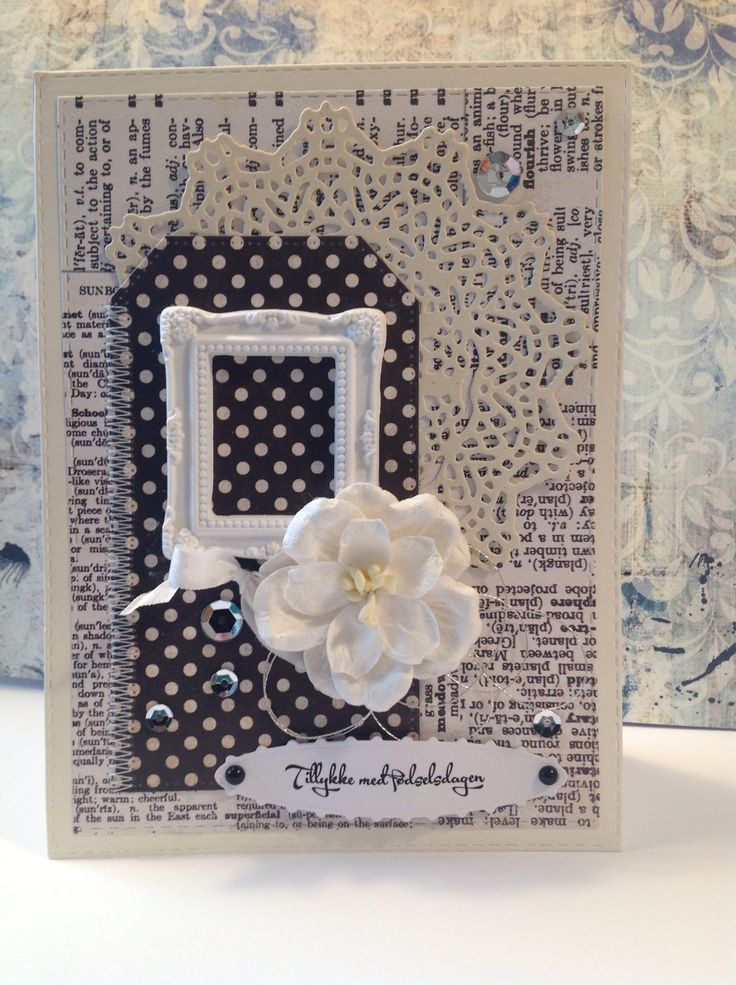 Fødselsdagskort. Dies: Crea-nest-lies XXL no.24, My Favorite Things pierced tags, Memorybox Palace Oval Frame, Tim Holtz Sizzix Die Doily 661498