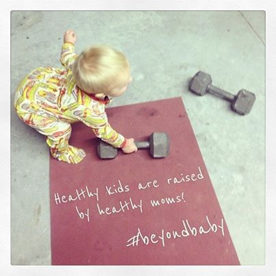 """Photo: """"LIKE"""" if you're a #mom who works out.    Childhood obesity is on the rise. What is the number one way to defeat it? Be a good example yourself! According to the CDC, sociological factors such as the lifestyle and fitness of the parents are the number one factor in the health of the children.  If you want to train up a child in the way they should go, you have to go that way yourself! #beyondbaby #fitmoms  http://www.facebook.com/beyondfitphysiques"""
