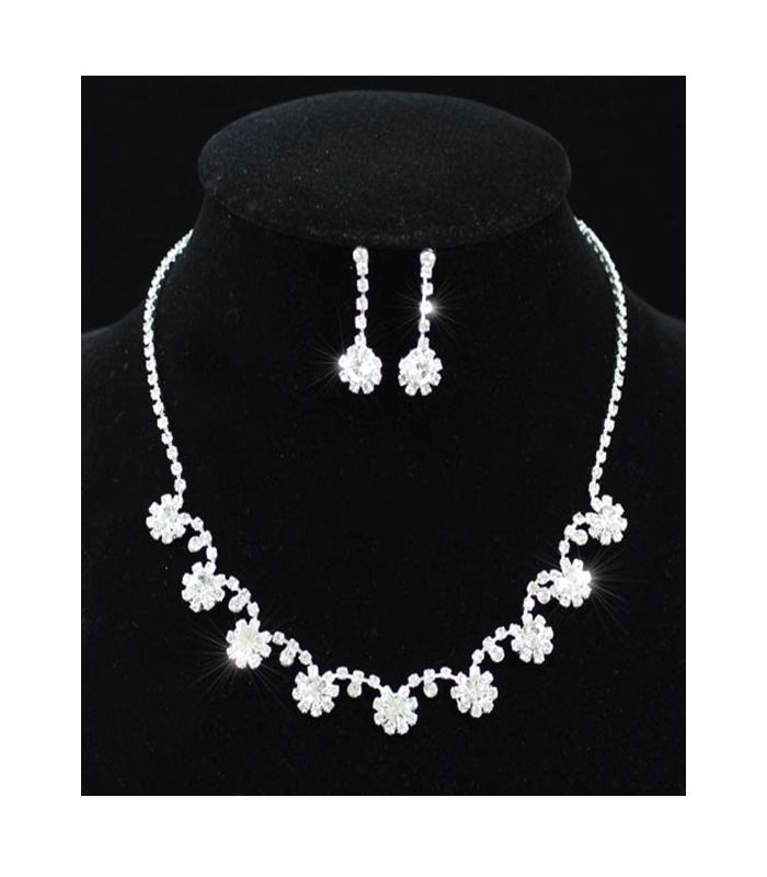 Jessica - Clear Austrian Crystal Necklace and Earring Set - http://lily316.com.au/shop/bridal/jessica-clear-crystal-bridal-necklace-earring-set/