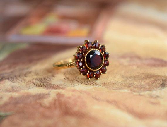 Vintage Halo Garnet Ring Round Cluster Ring by PrettyDifferentShop