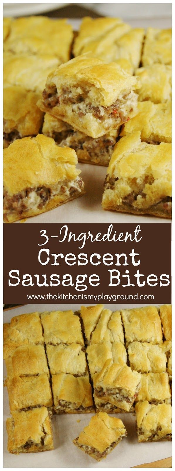 Looking for quick and easy party food?  Three-ingredient Crescent Sausage Bites are super simple and always a party hit!