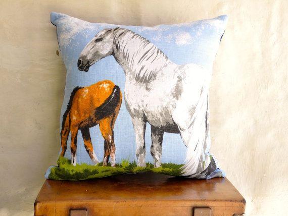 SALE TWO HORSES Vintage Irish  Linen Tea Towel Cushion Upcycled Repurposed  Pillow Cushion Girls gift Childrens decor