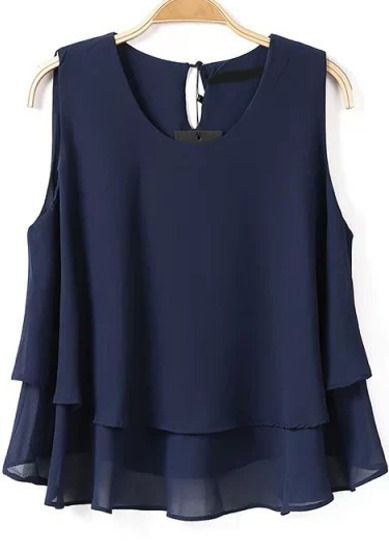Navy Sleeveless Cascading Ruffle Chiffon Blouse pictures