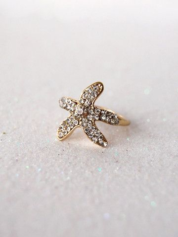 Gold Crystal Starfish Ring | Black Tied