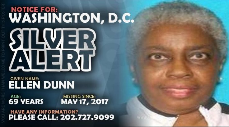 MISSING PERSON • ELLEN DUNN • WASHINGTON, D.C. • 69 YEARS OLD May 22, 2017 Gail Lachance District of Columbia, Washington