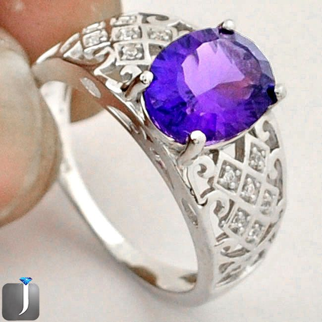 4.37cts NATURAL PURPLE AMETHYST 925 STERLING SILVER RING JEWELRY SIZE 8 D18883 #jewelexi #RING