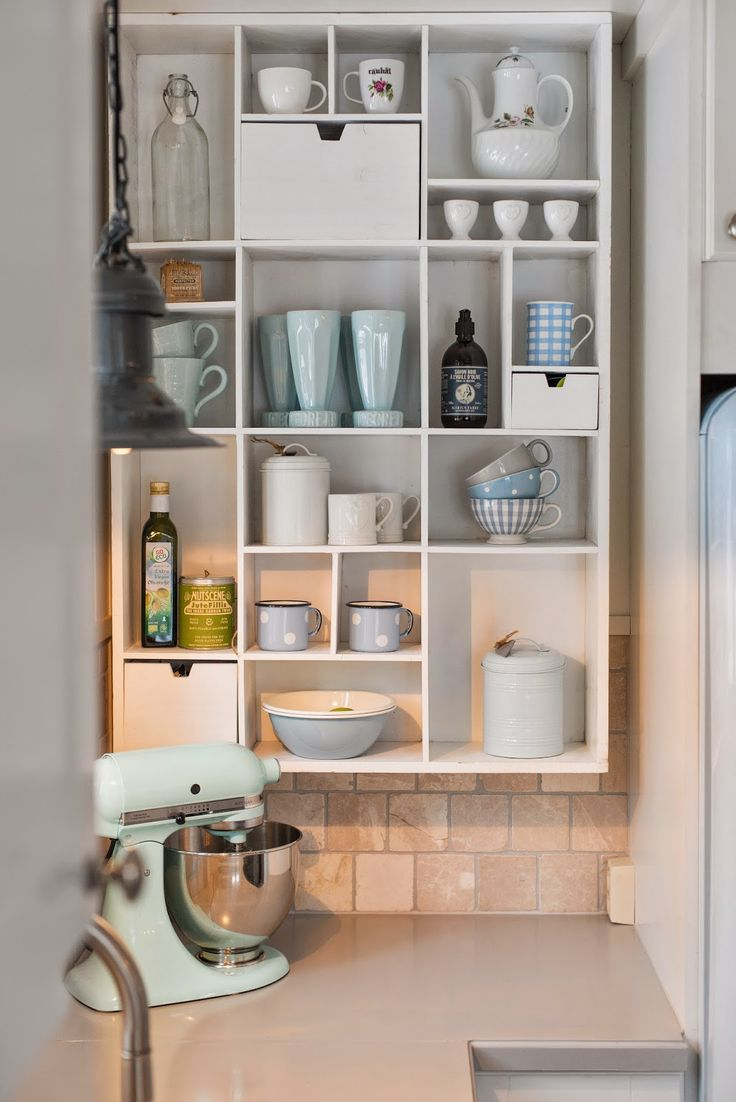 Kitchen Cubbies - an inexpensive way to add storage, organization and a  vintage look to