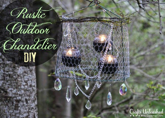 Upcycle the tomato cage you have in the garden shed and create this rustic and charming chandelier for your garden parties!