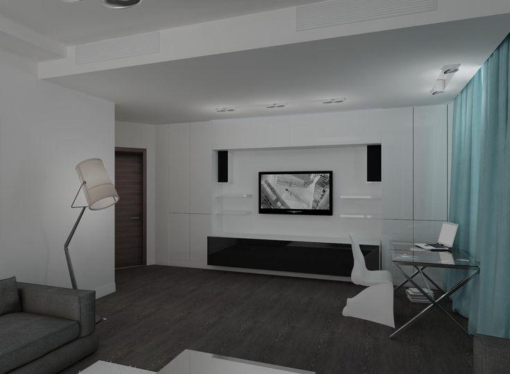 Белый шкаф в гостиной.