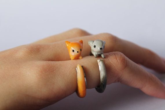 Adorable Clinging Fox Rings, Polymer Clay, Made to Order