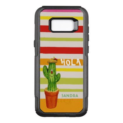 Hola smiling waving cactus warm colorful stripes OtterBox commuter samsung galaxy s8 case - stripes gifts cyo unique style