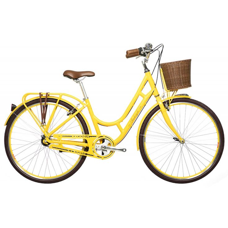 The Raleigh Spirit - yellow ladies bycycle with flower basket.