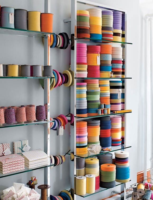 Colorful & organized crafts supplies in bookmakers studio