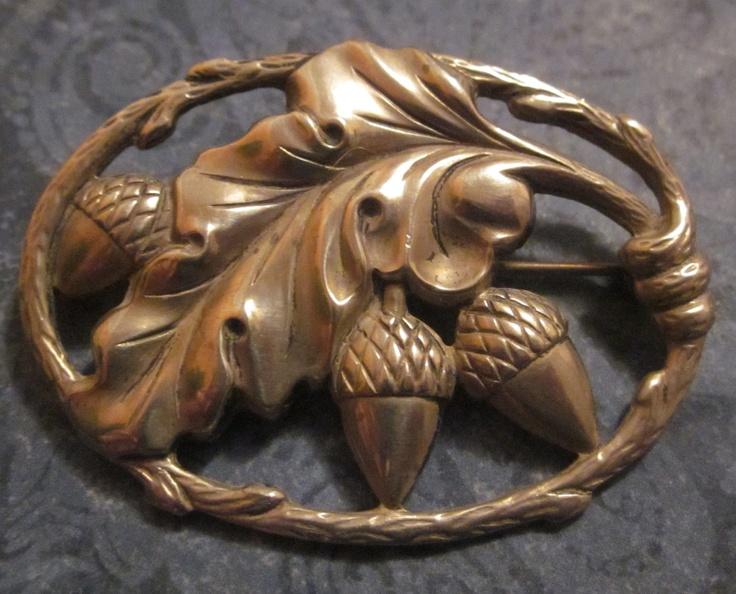 Vintage Sterling Silver Brooch Oak Leaf And Acorns. $48.00, via Etsy.