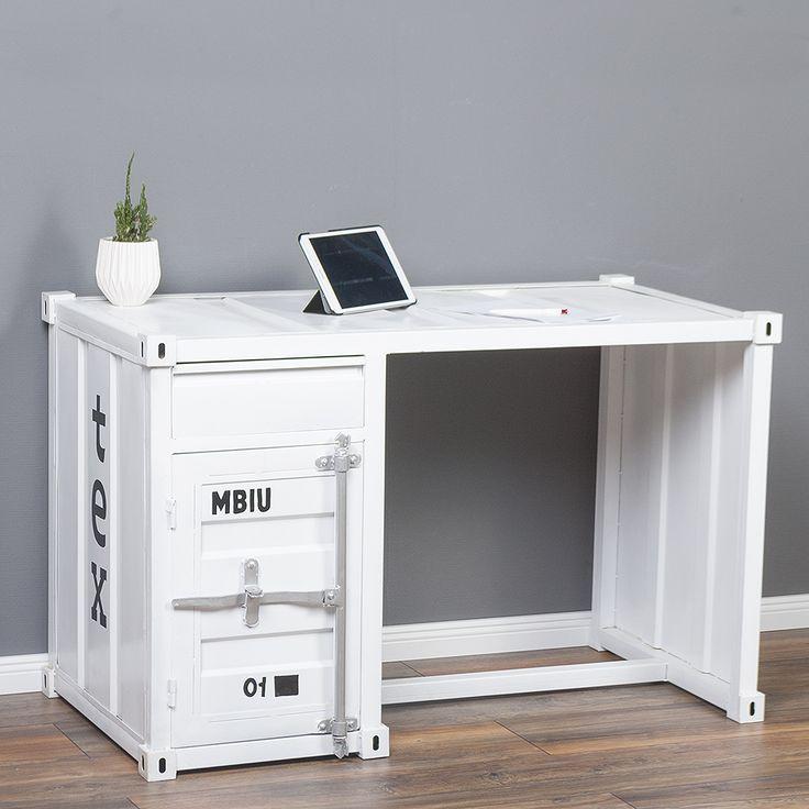 Schreibtisch CONTAINER in Weiß im Industrie-Design Sekretär 6411