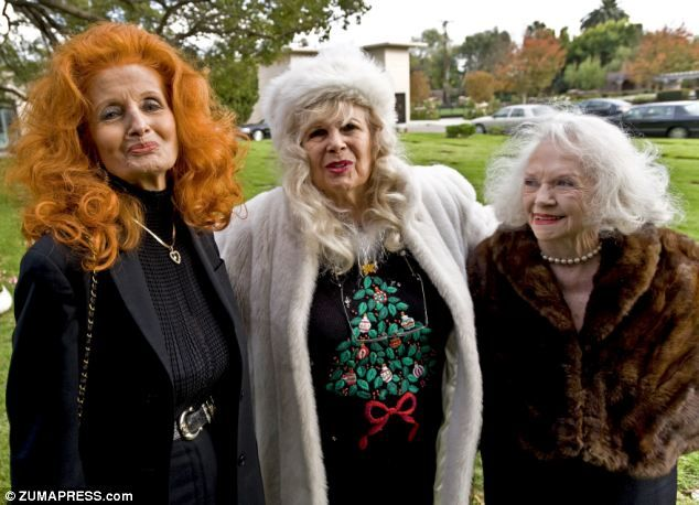 Tempest Storm, Gloria Pall and Dixie Evens at the funeral of Bettie Page....some original pin up gals for ya.