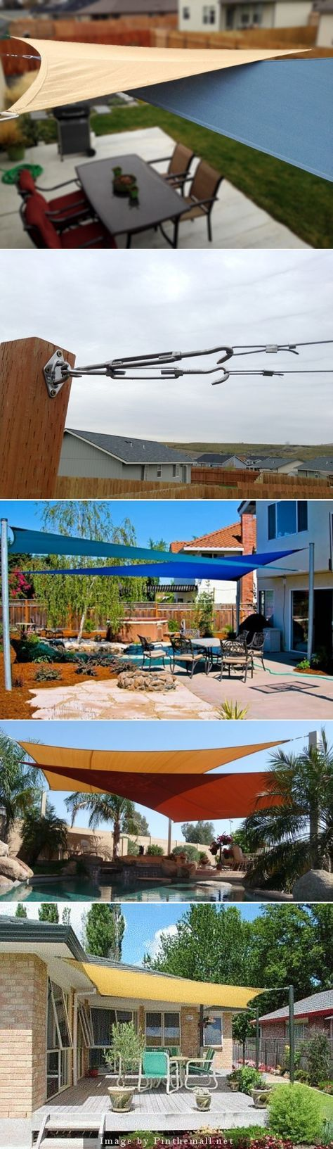 Shade Sails for your outdoor living areas @Kitty Terrell , this is what you need for by the pool!