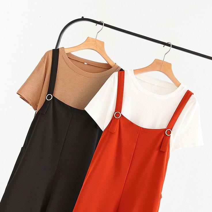 Удобрение для увеличения размера женской одежды 18 летняя новая корейская версия тонкого толстого толстого рукава с коротким рукавом T шифон ремешок широкие штаны штаны из двух частей - Taobao