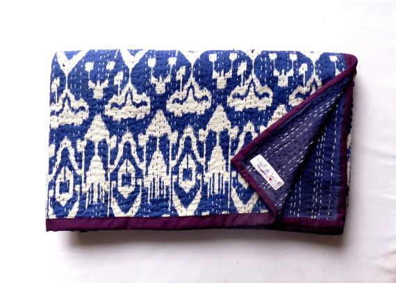 Indigo Blue Ikat Quilt // Kantha Quilt bedspread by LiveLoveSmile, €80.00