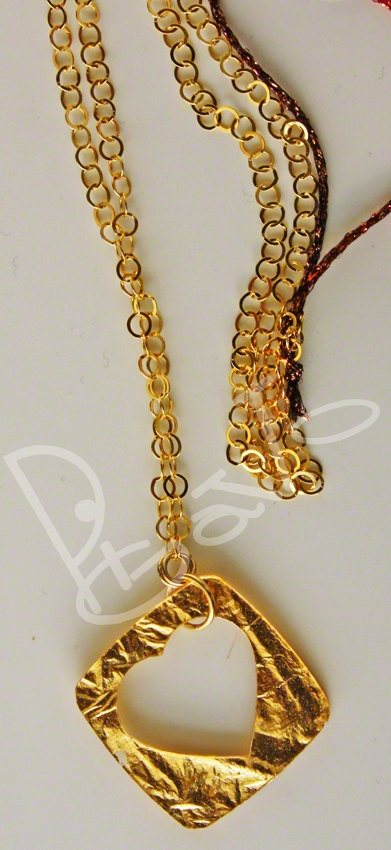 Sterling silver necklace, cristal resin and gold color heart pendant, gold plated  silverchain 925, promotion price gift